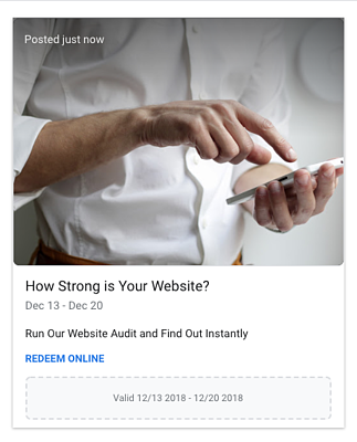 Google My Business Post for Free Website Audit