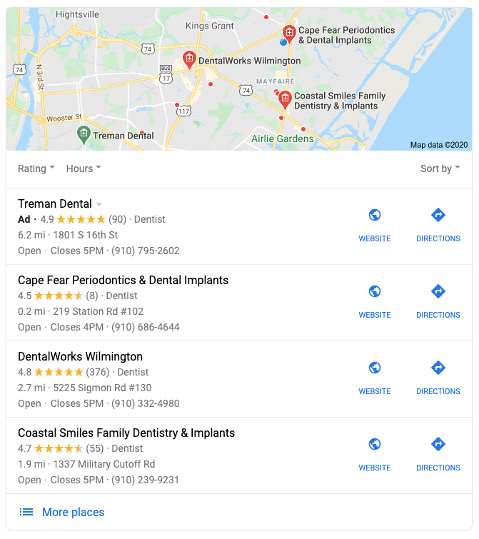 Google local pack results for Wilmington NC dentist