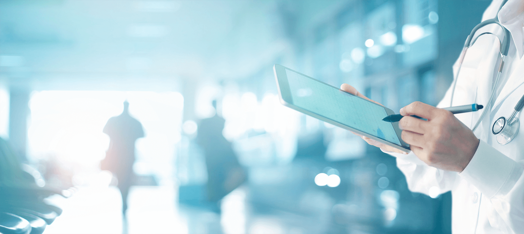 Medicine-doctor-and-stethoscope-touching-medical-information-network-connection-interface-on-digital-tablet-in-hospital-background.-Medical-data-and-technology-network