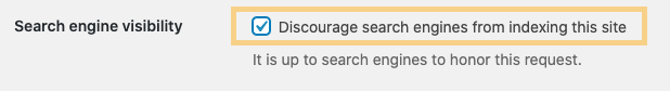 search engine visibility disable