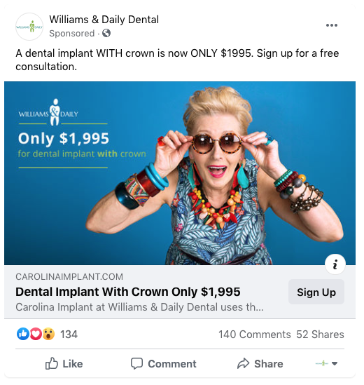 Facebook Ad for Dentists