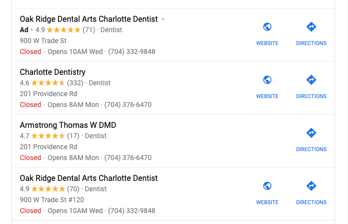 Local SEO Search Charlotte Dentist
